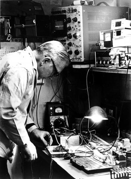 Photo of John R Wiegand in workshop